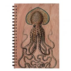 Octopus Wood Notebook
