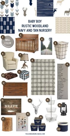 Baby Boy Nursery Inspiration | Rustic Woodland Navy and Tan Baby Room