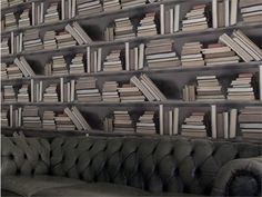 Trompe l'oeil wallpaper VINTAGE BOOKSHELF by Mineheart