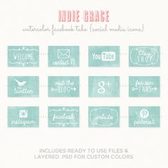 Facebook Timeline Tab Images - Watercolor - App buttons - social icons buttons on Etsy, $5.00