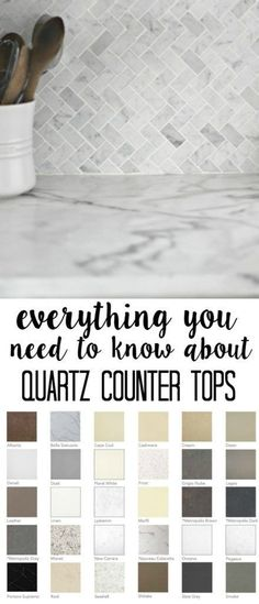Quartz Counter tops- what you need to know before buying. Quartz 101 so you can decide if it is right for you. What to know before selecting Quartz- maintenance durability cost appearance and the selection and installation process Quartz Counter tops- Kitchen Shelves, Kitchen Tiles, Kitchen Colors, Kitchen Paint, Kitchen Layout, Kitchen Designs, Kitchen Knobs, Kitchen Handles, Ikea Kitchen