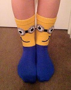 Ravelry: Minion Mania Socks pattern by Judy Kennedy Silly Socks, Funny Socks, Cute Socks, My Socks, Awesome Socks, Crazy Socks For Kids, Kids Socks, Minion Crochet, Crochet Humor