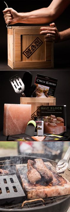 Grilling steak on a salt block from the Himalayas? This sounds awesome! #mancrates