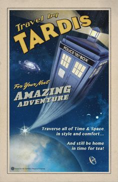 Travel by TARDIS // Vintage Styled Doctor Who Poster // Police box zooming in Space 11x17 Print on Etsy, £11.08