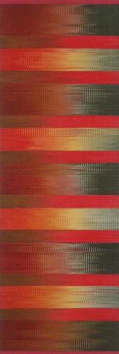 'Sundown Rocks' (2011) wool ikat rug by Florida-based weaver & textile designer Connie Enzmann-Forneris. 26 x 75 in. via the artist's site