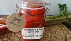 Jak uvařit rebarborový džem se zázvorem a malinami | recept Hot Sauce Bottles, Preserves, Pesto, Candle Jars, Food And Drink, Cheese, Preserve, Preserving Food, Butter