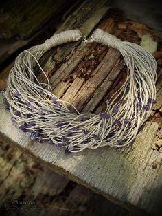Linen necklace with amethyst Grapevine Wreath, Grape Vines, Amethyst, Diy, Jewelry, Jewlery, Bricolage, Jewerly, Vineyard Vines