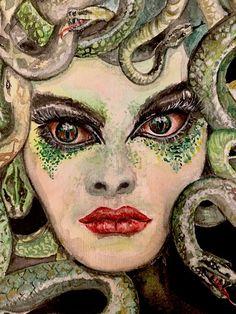 Medusa limited edition watercolour print by Linda Karslake Painting Studio, Paper Dimensions, Leaf Design, Medusa, Watercolor Print, Fine Art Paper, Halloween Face Makeup, Art Prints, Wall Art