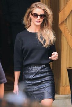 Black sweater + leather skirt