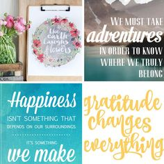 20 gorgeous and modern free inspirational quote printables: perfect for home decor, gallery walls, wall art, or cheap, inexpensive handmade gifts.