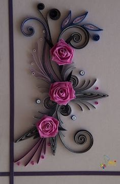 Beautiful Paper Art – Quilling pink roses