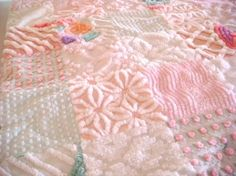 CUSTOM QUILT EXAMPLE - Clouds of Pink Vintage Chenille Quilted Coverlet