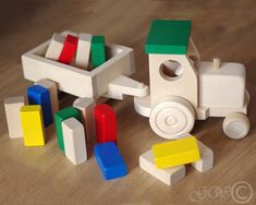 Items similar to Wooden Tractor with Trailer, Wooden Blocks, Wooden Toy, Tractor with Blocks on Etsy Wooden Crafts, Wooden Toys, Wood Projects, Woodworking Projects, Woodshop Tools, Wood Toys Plans, Pull Toy, Toy Trucks, Wooden Blocks