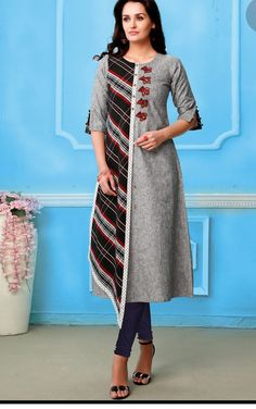 Beautiful cotton kurti with print and embroidery detailing.