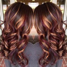nice Brunette hair color with burnished blonde highlights Curly long brunette hair ho...