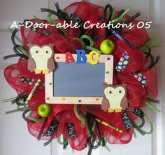 ABC OWL & CHALKBOARD Red Mesh Wreath by ADoorableCreations05, $55.00