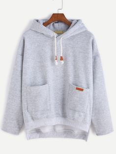 Grey Slit Side High Low Hooded Sweatshirt — 0.00 € --------------color: Grey size: one-size