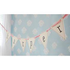 Wooden Pennant Flag Letters from @PoshTots #babyname #nursery #banner
