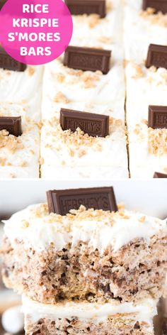 Turn regular rice krispie treats into S'MORES rice krispie treats by adding crushed graham crackers, chocolate chips and a marshmallow fluff frosting! These no bake s'mores bars are one of our favorite rice crispy treat variations! Oreo Dessert, Rice Recipes For Dinner, Dessert Recipes, Popcorn Recipes, Rice Crispy Treats, Krispie Treats, Mini Desserts, Marshmallow Fluff Frosting, Reis Krispies