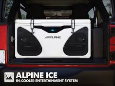 Is it a stereo or a portable cooler? It's both!! Whether tailgating, camping, boating, or just hanging with friends, Alpine's ICE (In-Cooler Entertainment system) provides quality audio entertainment, while doubling as a premium high-capacity Grizzly cooler! Its built-in 180-watt Alpine sound system, with Bluetooth connectivity, consists of a 2-way 5.25-inch component waterproof speaker system with 4x10-inch bass radiators and a compact audio amplifier.