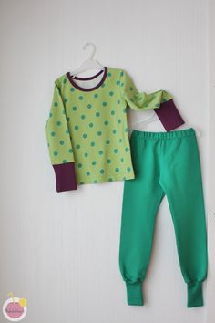 shirt and pants from Nosh organic cotton jersey and college