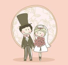 XOO Plate :: Sweet Hand Drawn Wedding Vector Graphic - Cute couple on wedding day vector graphic.
