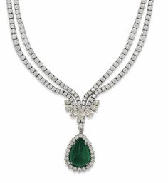 AN EMERALD AND DIAMOND NECKLACE. The graduated two-row brilliant-cut diamond necklace with pear shaped diamond cluster centre, suspending a detachable pear shaped cabochon emerald and diamond cluster pendant, 39.4cm long.