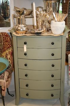 Men's Valet painted with Annie Sloan Chalk Paint® Chateau Grey.