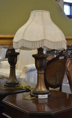 """Bronze Lamp with Cream Fringed Shade Measures 32"""" h."""