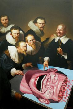 made by: Thierry Bruet - Painting (Rembrandt's lesson in smiling - so funny) Painting People, Figure Painting, Yue Minjun, Appropriation Art, Chinese Artwork, Chinese Painting, Art Chinois, A Level Art, Portraits