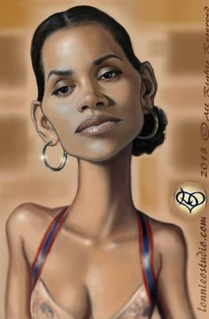 Celebrity caricatures Halle Berry