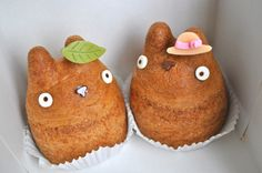 Totoro cream puffs :)  Only sold at Shiro Hige Cream Puff Bakery in Tokyo