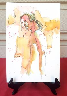 Signed JOEL DOVE Watercolor Drawing Sexy Nude Man Long Hair Gay Interest 10.25""