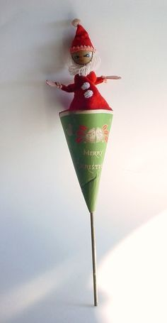 Pop Up Santa Toy Push Up - Paper Cone Shape - Vintage - Merry Christmas.  via Etsy.