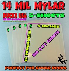 MYLAR 14 MIL Goose Call Reed Mylar Material Best Available Anywhere 5-PACK #DucksUSA