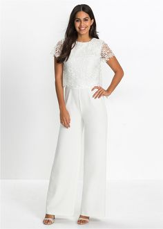 Kombinezon z koronką biały // Lace overalls  #kombinezon #overalls #fashion #moda #womensfashion #womenwear #white Flirt, Outfit, Overalls, Wedding, Dresses, Website, Check, Products, Fashion