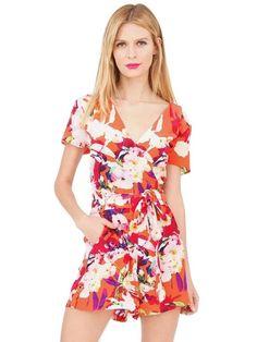 Floral Print V-Neck Short Sleeve Chic Jumpsuits