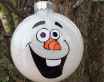 Snowman Ornament Olaf Ornament Character Ornament Glitter Ornaments Christmas Ornaments Ornaments for Kids Disney Ornaments, Painted Christmas Ornaments, Glitter Ornaments, Christmas Baubles, Christmas Decorations To Make, Christmas Projects, Holiday Crafts, Frozen Ornaments, Christmas Tree