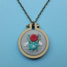 Flower Mini Hoop Necklace. Hand Embroidered by ForestChorusStudio
