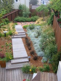Superb Blue Oat Grass fashion Other Metro Modern Landscape Image Ideas with boardwalk deck garden lighting geometric geometry mass plantings mulch path small backyard walkway wood