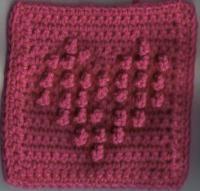 """Treble Puff Heart Square (6""""x6""""inches) - Free Original Patterns - Crochetville"""