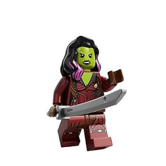 Gamora has Black Widow's hair in black with purple highlights and bright green skin with blue face paint and a duel expression:happy and angry. Gamora is the daughter of Thanos who described her as '...