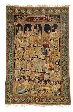 """An historical antique Kerman Lavar rug, South central Persia. """"The Leaders Of The World"""" pictorial rug. Late 19th century. 238 x 154 cm. Bruun Rasmussen November auction including carpets in Copenhagen"""