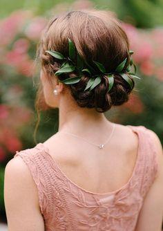 Leaf hair garland   Wedding hairstyles