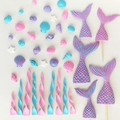 Mermaid cake toppers with sprinkles - Mermaid tail cake topper - Mermaid party - Mermaid birthday - Mermaid - Mermaid tail - Baby Shower - Cake Decorating Dıy Ideen Mermaid Tail Cake, Mermaid Cupcakes, Mermaid Mermaid, Little Mermaid Parties, The Little Mermaid, Sirenita Cake, Mermaid Birthday Cakes, Little Mermaid Birthday, Fondant Toppers
