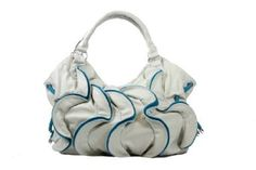 Designer Inspired - Water Ruffle Bag - Grey / Blue $37.50