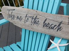 Driftwood sign TAKE ME to the BEACH hand painted by crabbychris