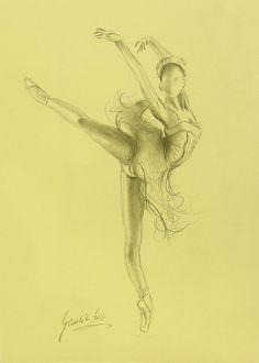 ORIGINAL pencil drawing 12 x 8 on CREAM paper of by EwaGawlik, $25.00