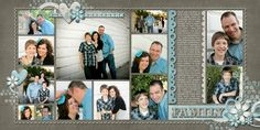 double page scrapbook layout with 13 pics - nice design