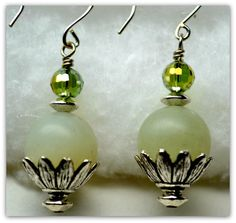 Gemstone Earrings, Large Round Jade Gemstone,Flower Shaped Pewter Bead Cap and Saucer Shaped Spacers, Green Disco Ball Crystals, on Etsy, $24.99